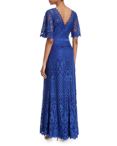 Lace V-Back Short-Sleeve Gown