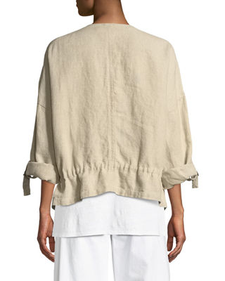 Image 2 of 3: Heavy Linen Short Drawstring Jacket
