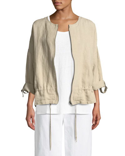 Eileen Fisher Heavy Linen Short Drawstring Jacket and