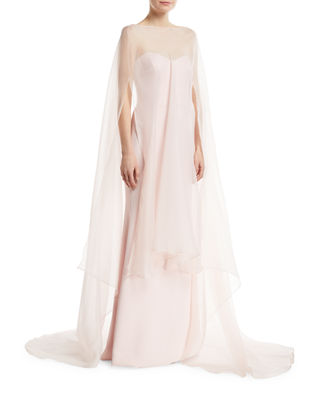 Strapless Gown w/ Organza Overlay Cape