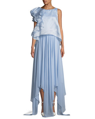 Badgley Mischka Collection Sleeveless Popover Organza Pleated
