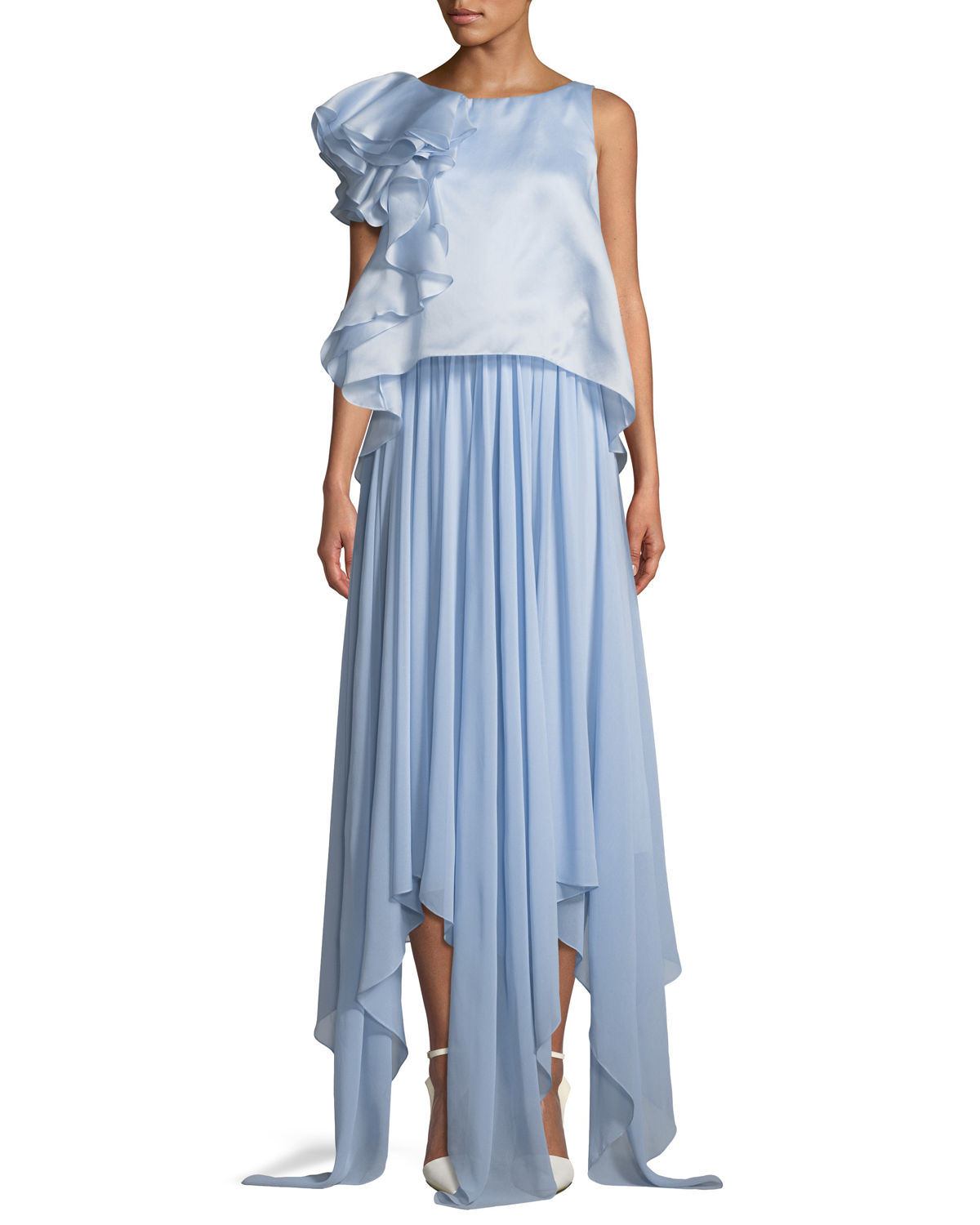 Badgley Mischka Collection Sleeveless Popover Organza Pleated Gown ...