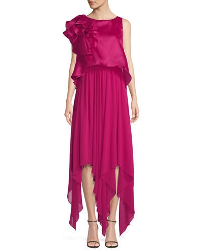Sleeveless Popover Organza Pleated Gown