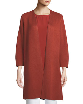 Eileen Fisher 3/4-Sleeve Simple Silk-Blend Long Cardigan