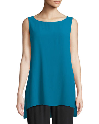 Silk Georgette Bateau-Neck Long Tank