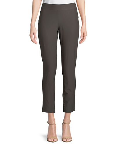 Washable Stretch-Crepe Slim Ankle Pants, Petite