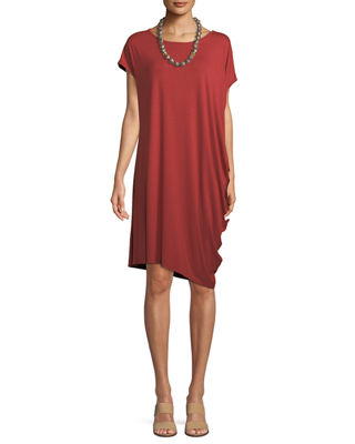 Eileen Fisher Asymmetric Lightweight Jersey Dress, Petite
