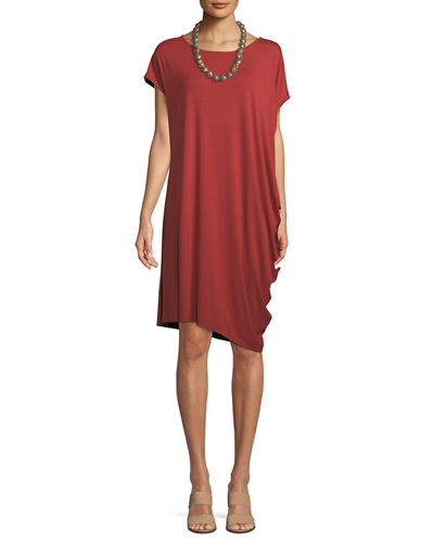 Asymmetric Lightweight Jersey Dress, Petite