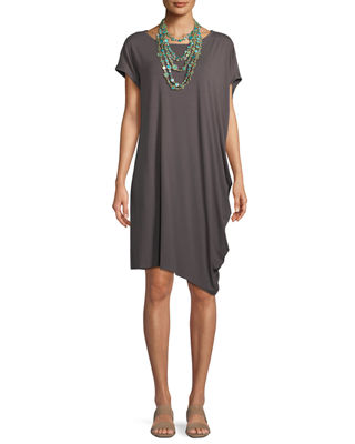 Asymmetric Lightweight Jersey Dress, Plus Size
