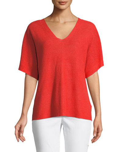 Short-Sleeve V-Neck Organic Linen Top