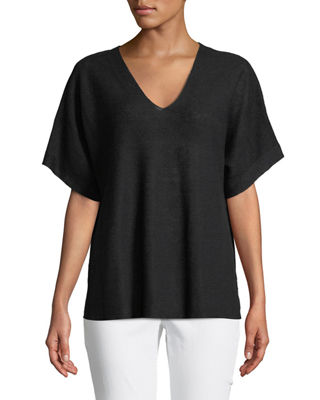 Short-Sleeve V-Neck Organic Linen Top, Petite