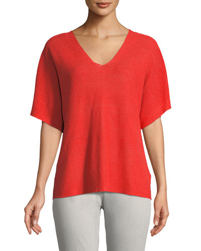Short-Sleeve V-Neck Organic Linen Top, Plus Size