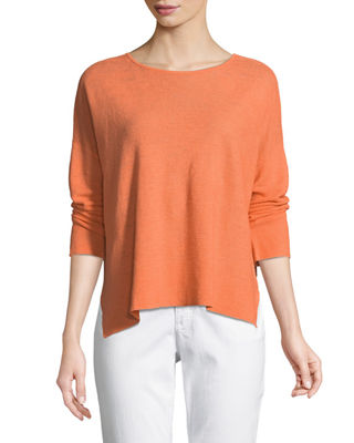 Long-Sleeve Organic Linen Box Top