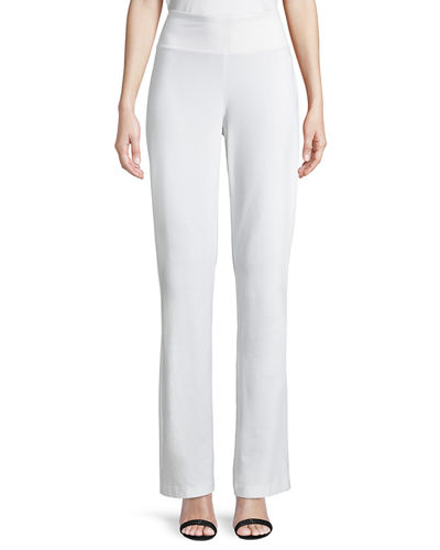 Stretch Crepe Boot-Cut Pants, Petite