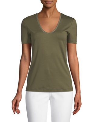 Lafayette 148 New York Grace Chain-Trim Top