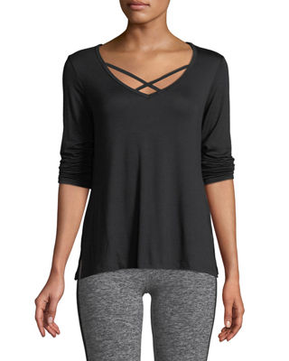 Image 1 of 4: Cross Me Once Long-Sleeve Pullover Top