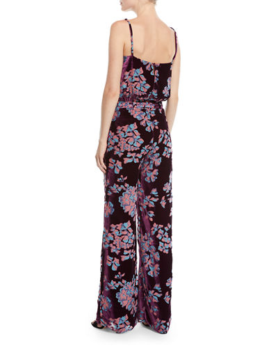 Loretta V-Neck Wide-Leg Printed Silk Jumpsuit
