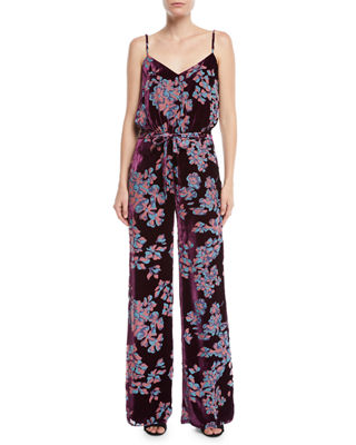 Loretta V-Neck Wide-Leg Printed Silk Jumpsuit, Plum