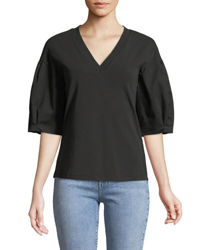 Venetia V-Neck Balloon-Sleeve Blouse
