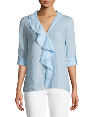 Adreena Ruffle V-Neck Blouse
