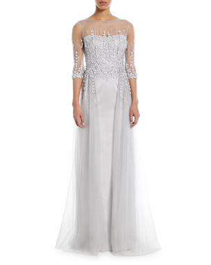 f3b664c2224 Rickie Freeman for Teri Jon Embellished Satin Illusion Trumpet Gown