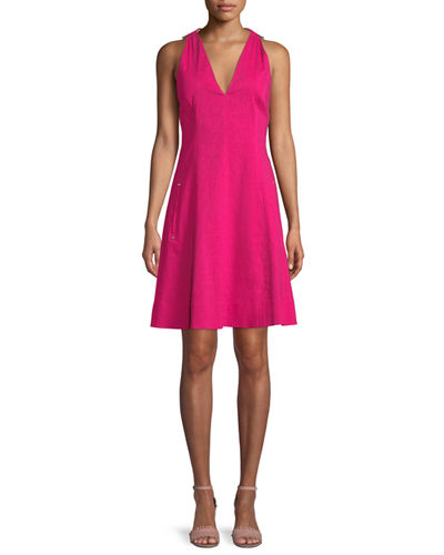 Elie Tahari Selene V-Neck Linen-Blend Dress
