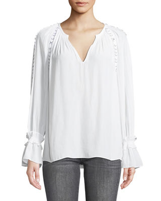 Sheila V-Neck Long-Sleeve Top with Grommet Trim