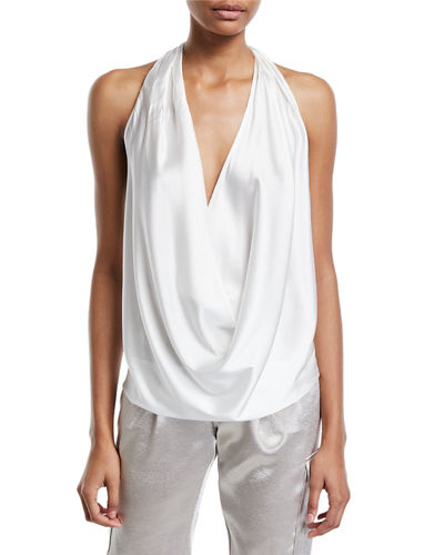 Harriet Sleeveless Draped Silk Halter Top