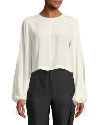 Ruffled-Back Split-Sleeve Cropped Blouse