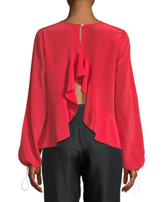 Image 2 of 2: Ruffled-Back Split-Sleeve Cropped Blouse