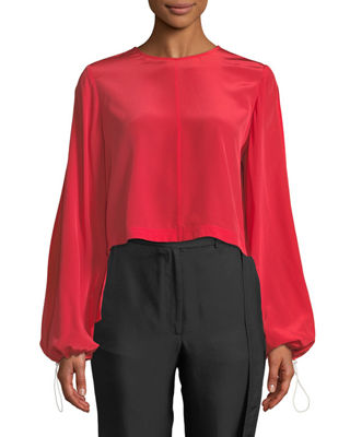 Image 1 of 2: Ruffled-Back Split-Sleeve Cropped Blouse