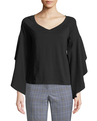 Ruffle-Sleeve V-Neck Cotton Tee
