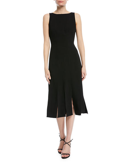 Halston Heritage  SLEEVELESS STRIPED MIDI COCKTAIL DRESS