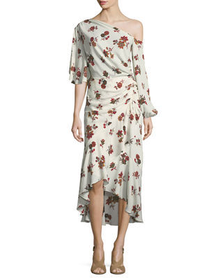 A.L.C. Florence One-Shoulder Ruched Ruffled Silk Dress