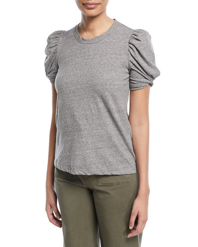 Kati Crewneck Pouf-Sleeve Heathered Cotton Tee