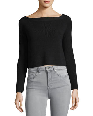 FRAME Boat-Neck Cropped Rib-Knit Sweater
