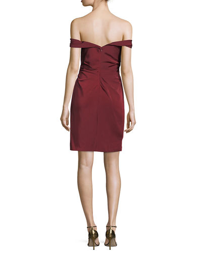 Off-the-Shoulder Faille Fitted Mini Cocktail Dress