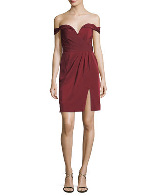 Faviana Off-the-Shoulder Faille Fitted Mini Cocktail Dress