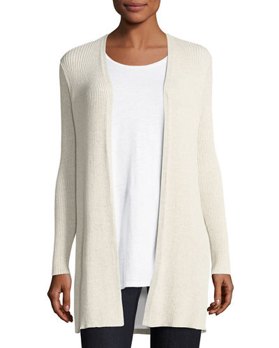 Long Straight Wool Crepe Cardigan, Petite
