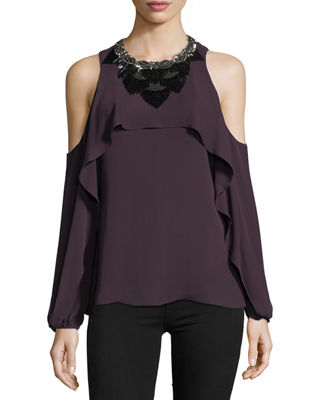 Kobi Halperin x Erte Rosalie Cold-Shoulder Beaded Silk
