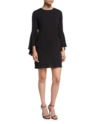 3/4 Bell-Sleeve Stretch-Silk Dress
