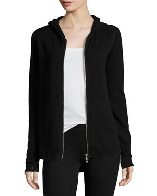 Image 1 of 5: Cashmere-Blend Zip Front Hooded Jacket