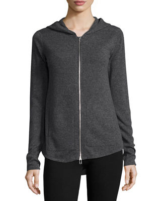 Image 2 of 5: Cashmere-Blend Zip Front Hooded Jacket
