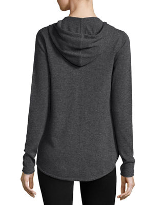 Image 3 of 5: Cashmere-Blend Zip Front Hooded Jacket