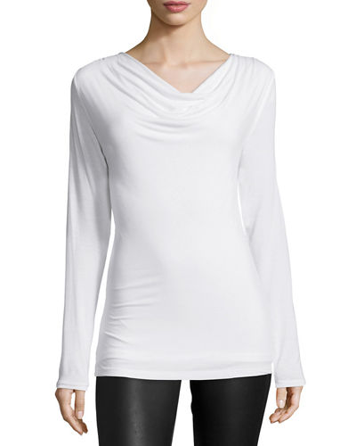 Soft Touch Draped Long-Sleeve Top