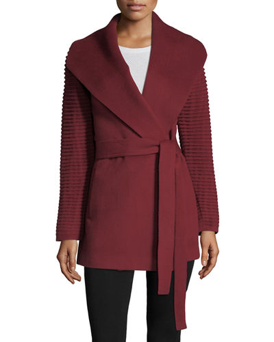 Ribbed-Sleeves Shawl-Collar Wrap Alpaca Coat