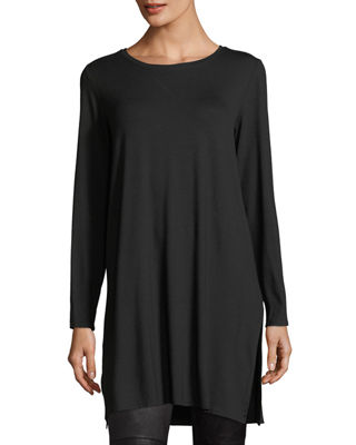 Eileen Fisher Long-Sleeve Lightweight Viscose Jersey Tunic,