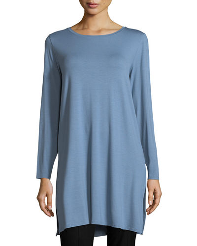 Long-Sleeve Lightweight Viscose Jersey Tunic, Petite