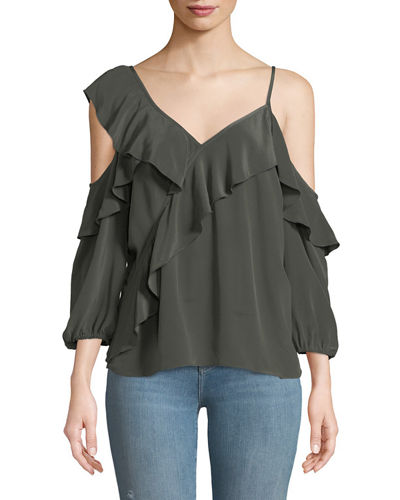 Unforgettable V-Neck Cold-Shoulder Ruffle Silk Top