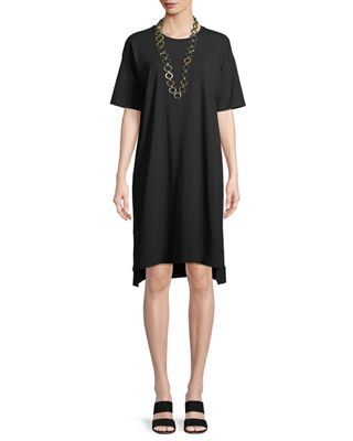 Eileen Fisher Slubby Organic Cotton Jersey Shift Dress,